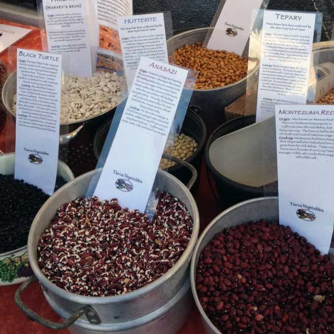 containers of dried beans